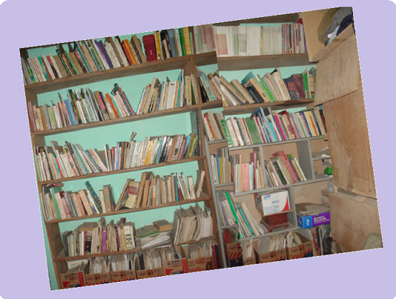 Libros en estante.